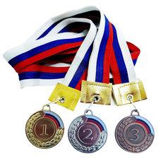 F11733 Медаль 2 место с флагом (лента в комплекте)