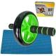 C28960-2 Ролик гимнастический 1-но рядный (зеленый) (d-18.5 см с подшипником и неопреновыми ручками)