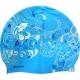 SRSC-10-B Шапочка силиконовая SR Болубая волна с принтом Жар птица, оттенки синего