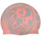 SRSC-21-E Шапочка силиконовая SR Розовый коралл с Металлик принтом Водоворот