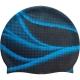 SRSC-4-A2 Шапочка силиконовая SR Темно-синяя с Синим принтом Волны