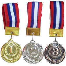 F11743 Медаль 3 место  (d-6 см, лента триколор в комплекте)