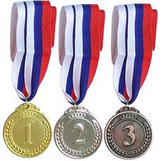 F18540 Медаль 3 место  (d-5 см, лента триколор в комплекте)
