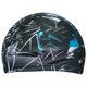 R18078 Шапочка для плавания взрослая (лайкра) (черная с голубым)