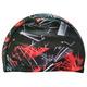 R18079 Шапочка для плавания взрослая (лайкра) (черная с красным)