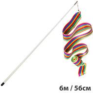 B25988 Лента гимнастическая 6м. с палочкой 56см. Цвет: Радуга, 10015931, Аксессуары