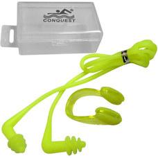 C33555-3 Комплект для плавания беруши и зажим для носа (салатовые)