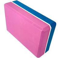 E29313-2 Йога блок полумягкий 2-х цветный (синий-розовый) 223х150х76мм., из вспененного ЭВА, 10017830, РОЛИКИ ДЛЯ ЙОГИ