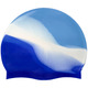 B31518-2 Шапочка для плавания силиконовая (голубой/бело/васильковый)