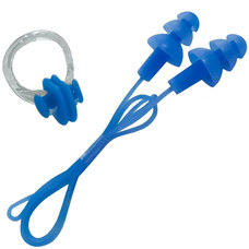 B31576 Набор для плавания беруши на шнурке и зажим для носа (синий)