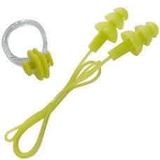B31576 Набор для плавания беруши на шнурке и зажим для носа (салатовый)