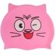 B31573 Шапочка для плавания детская силикон (розовая Кот)