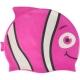 B31573 Шапочка для плавания детская силикон (малиновая Рыбка)