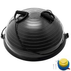 BOSU055-24 Полусфера BOSU гимнастическая, 58см., (черны) в комплекте с эспандером и насосом (B35085)