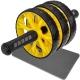 ABR-710-1 Ролик гимнастический 3-х рядный с TPR ручками (желтый) (E32434)