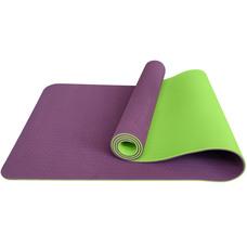 E33588 Коврик для йоги ТПЕ 183х61х0,6 см (фиолетово/салатовый)