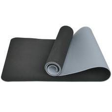 E33590 Коврик для йоги ТПЕ 183х61х0,6 см (черно/серый)