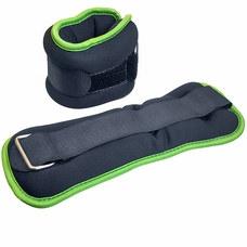 """HKAW104-1 Утяжелители """"ALT Sport"""" (2х2,5кг) (нейлон) в сумке (черный с зеленой окантовкой)"""