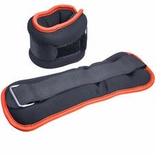 """HKAW104-2 Утяжелители """"ALT Sport"""" (2х2,5кг) (нейлон) в сумке (черный с оранжевой окантовкой)"""