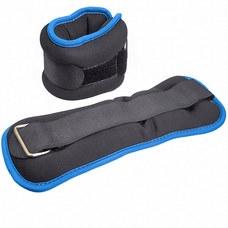 """HKAW104-5 Утяжелители """"ALT Sport"""" (2х1,0кг) (нейлон) в сумке (черный с синей окантовкой)"""
