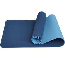 E33583 Коврик для йоги ТПЕ 183х61х0,6 см (синий/голубой)