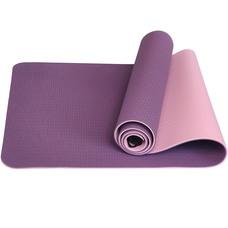 E33579 Коврик для йоги ТПЕ 183х61х0,6 см (фиолетово/розовый)