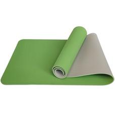 E33580 Коврик для йоги ТПЕ 183х61х0,6 см (зелено/серый)