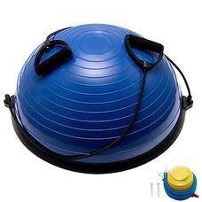 BOSU055-21 Полусфера BOSU гимнастическая, 58см., (синий) в комплекте с эспандером и насосом (B31662)