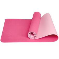 E33585 Коврик для йоги ТПЕ 183х61х0,6 см (розовый/светло розовый)