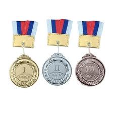 F11737 Медаль 3 место римскими цифрами (лента в комплекте)