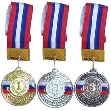 F18521 Медаль 2 место  (d-6,5 см, лента триколор в комплекте)