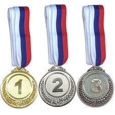 F18524 Медаль 2 место  (d-6,5 см, лента триколор в комплекте)