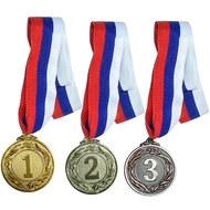 F18527 Медаль 2 место  (d-4,5 см, лента триколор в комплекте), 10014100, 15. НАГРАДНАЯ ПРОДУКЦИЯ
