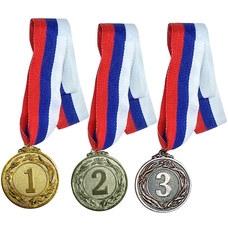 F18527 Медаль 2 место  (d-4,5 см, лента триколор в комплекте)